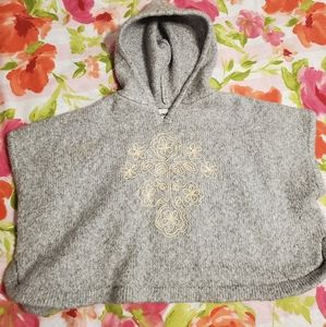 Gray hooded sweater poncho